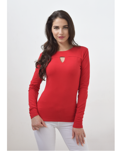 Red slim blouse